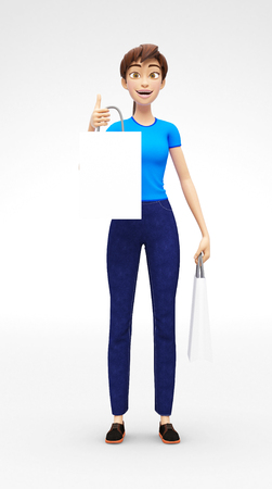 Blank Shopping Bag Mockup Held by Smiling and Happy Jenny - 3D Cartoon Female Character in Casual Clothes as Presentation of Information or Advertisement, Isolated on White Background Stock Photo