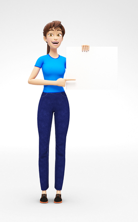 Blank Product Poster and Banner Mockup Held by Laughing and Happy Jenny - 3D Cartoon Female Character in Casual Clothes as Presentation of Information or Advertisement, Isolated on White Background