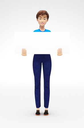 Blank Product Poster and Banner Mockup Held by Smiling and Happy Jenny - 3D Cartoon Female Character in Casual Clothes as Presentation of Information or Advertisement, Isolated on White Background