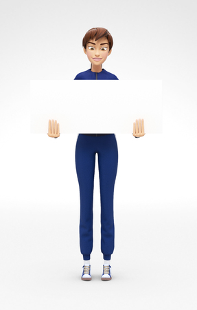 Blank Product Poster and Banner Mockup Held by Smiling and Happy Jenny - 3D Cartoon Female Character in Sports Suit as Presentation of Information or Advertisement, Isolated on White Background