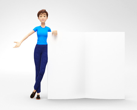 Blank Magazine Pages and Brochure Mockup Held by Smiling and Happy Jenny - 3D Cartoon Female Character in Casual Clothes as Presentation of Information or Advertisement, Isolated on White Background Stock Photo