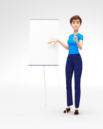 Product Flip-Chart Mockup and Blank Board with Serious and Strict Jenny - 3D Cartoon Female Character in Casual Clothes as Presentation of Information or Advertisement, Isolated on White Background