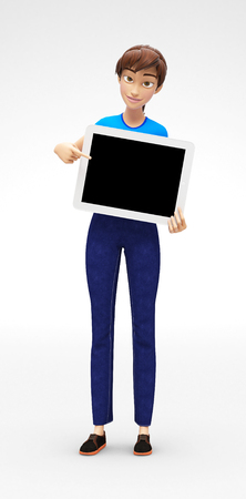 and delighted: Tablet Device Mockup With Blank Screen Held by Smiling and Happy Jenny - 3D Cartoon Female Character in Casual Clothes as Presentation of Information or Advertisement, Isolated on White Background Stock Photo