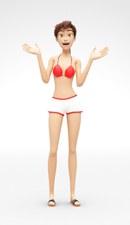 Amazed and Perplexed by Aha Moment, Smiling Jenny - 3D Cartoon Female Character Model - Surprised with Wow Effect, in Casual Two-Piece Swimsuit Bikini, Isolated on White Spotlight Background