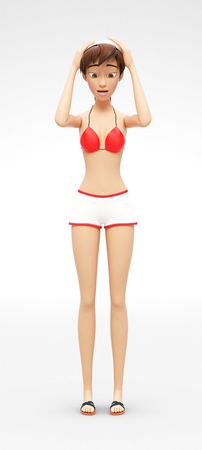 Panicky, Restless and Discouraged Jenny - 3D Cartoon Female Character Model - Scared, Puzzled by Problem and Lost with No Way Out, in Two-Piece Swimsuit Bikini, Isolated on White Spotlight Background Stock Photo