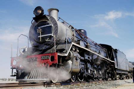 swakopmund: Vintage steam train preparing to depart from Swakopmund station on Namibias westcoast