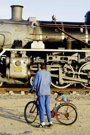 Vintage steam train preparing to depart from Swakopmund station on Namibias westcoast photo