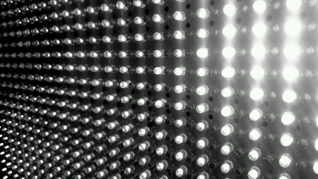 LED lighting close-up black and white