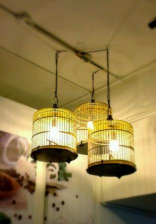 oillamp: Bird cage lanterns on ceiling
