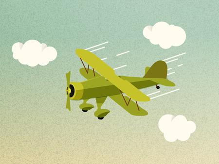 Retro Airplane Flying Vector