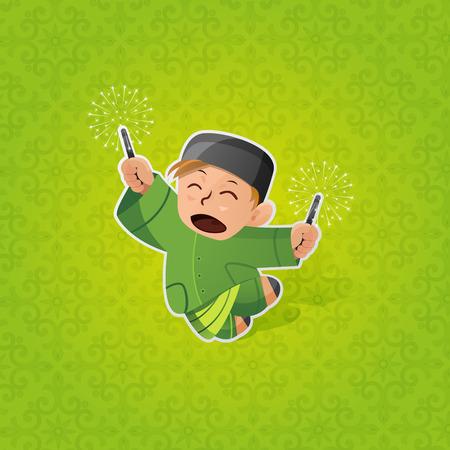 祝う: ハリラヤを祝っている少年  イラスト・ベクター素材