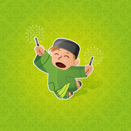 Boy celebrating Hari Raya Aidilfitri