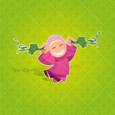 hari raya aidilfitri: Girl celebrating Hari Raya Aidilfitri Illustration