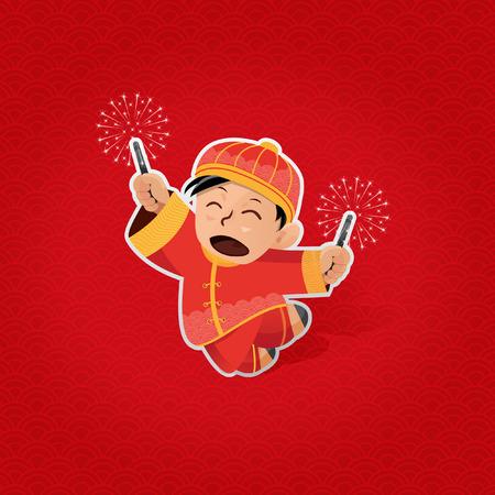 음력 새해 동안 반짝 함께 노는 쾌활한 소년 스톡 콘텐츠 - 40382030