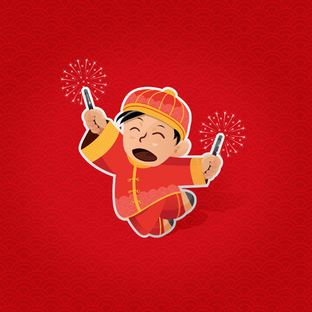 Cheerful boy playing with sparkles during Lunar New Year Vector