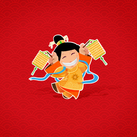 Cheerful girl playing with lanterns during Lunar New Year Vector