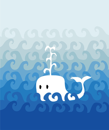 White whale swimming in the ocean Vector
