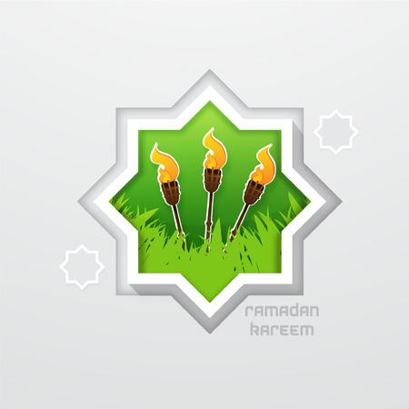 hari raya aidilfitri: Celebrating Hari Raya Aidilfitri with Torch Bamboo Illustration