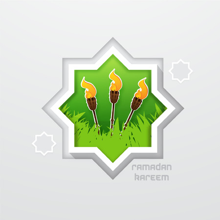 Celebrating Hari Raya Aidilfitri with Torch Bamboo Illustration