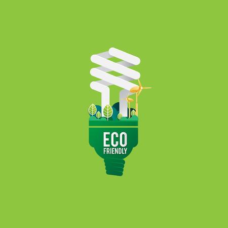 GO Verde ECO Concepto de energía bombilla Ilustración de vector