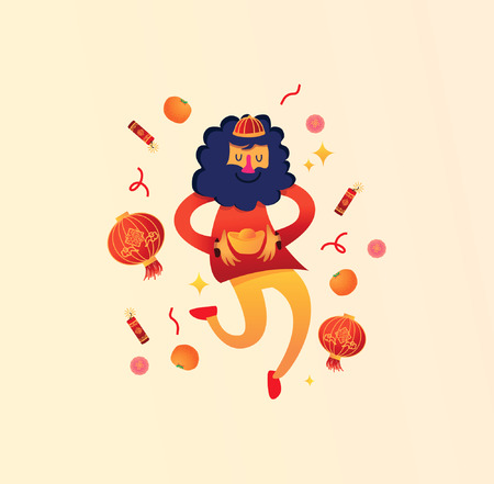 Chino, hombre, celebrar, chino, nuevo, año