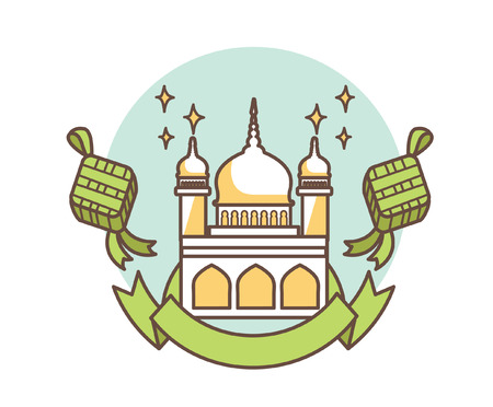 Selamat Hari Raya Aidilfitri with Mosque Building and Ketupat
