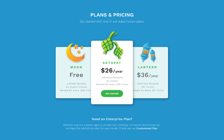 Web Design Template - A Pricing Page with Hari Raya Aidifitri them. 3D Moon, Ketupat and Islamic Lantern