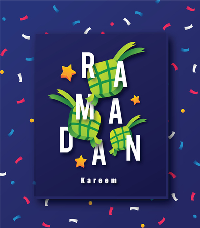 Ramadan Sales design concept with stars and Ketupat