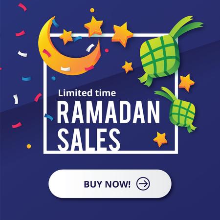 Ramadan Sales design concept with Moon and Ketupat
