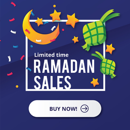 Ramadan Sales design concept with Moon and Ketupat