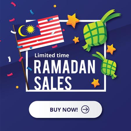 말레이시아 국기와 라마단 영업 디자인 개념 스톡 콘텐츠 - 80027590