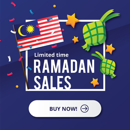 Ramadan Sales design concept with Malaysia flag Illustration