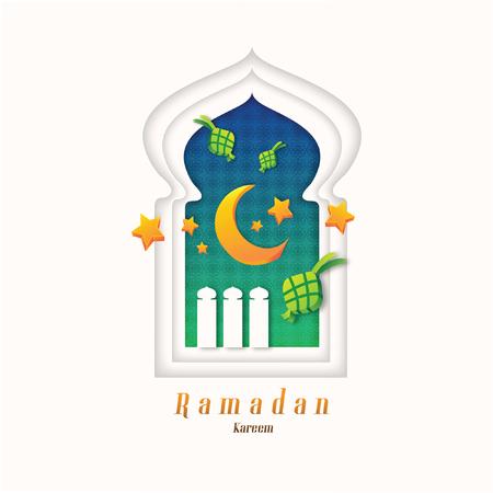 Celebrating Ramadan Kareem in paper cut design style with Moon and Ketupat and Stars