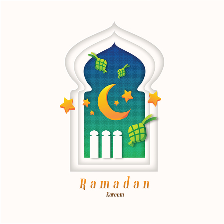Celebrating Ramadan Kareem in paper cut design style with Moon and Ketupat and Stars