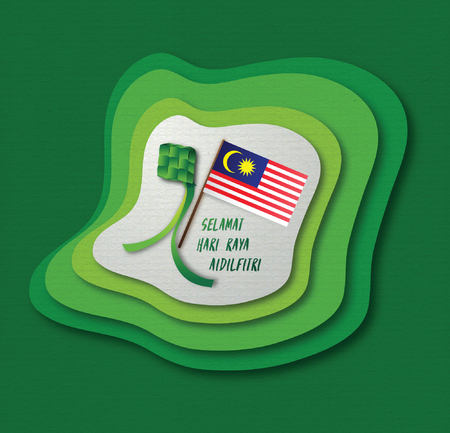 3D Malaysia Flag and Ketupat with paper cut design style