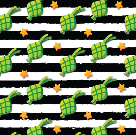3D Ketupat with Stars on Black and White Background