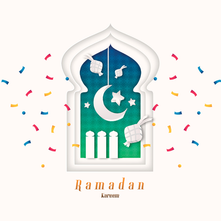 Celebrating Ramadan Kareem in paper cut design style
