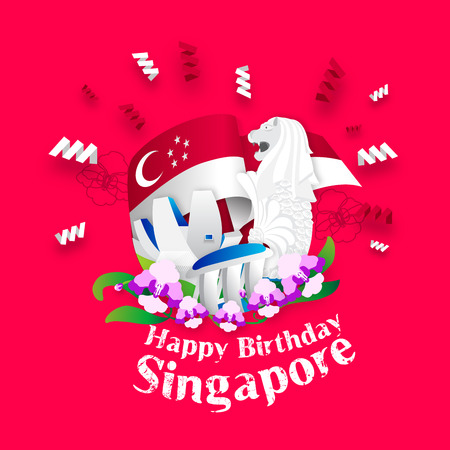national day: Happy Birthday Singapore Greeting Card
