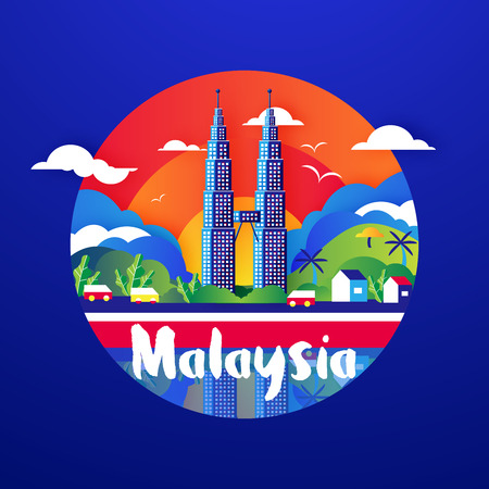 Flat style illustration of  Malaysia culture with KLCC on blue background  イラスト・ベクター素材