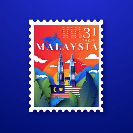 Postzegelontwerp van 31 augustus voor het vieren van de onafhankelijkheidsdag in Maleisië met Kampung Style en Wau