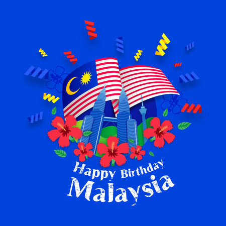 Happy Birthday Malaysia Greeting Card