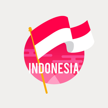 The Flag of Indonesia.Celebrating Independence or National Day with Waving Flag.Anniversary of the August 17, 1945. Illustration