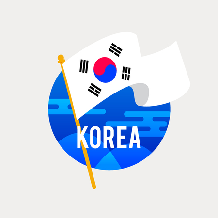 The Flag of South Korea.Celebrating Independence or National Day with Waving Flag.Anniversary of the August 15.