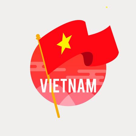 베트남의 깃발. 독립 기념일이나 국기를 흔들며 날을 기념하다. 9 월 2 일. 스톡 콘텐츠 - 86320258