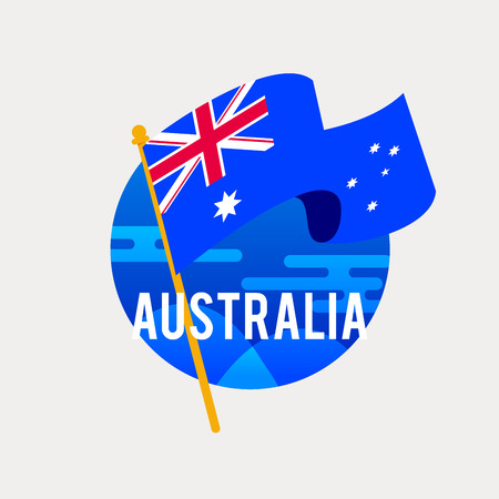 The Flag of Australia.Celebrating Independence or National Day with Waving Flag.Anniversary of the January 26. Illustration