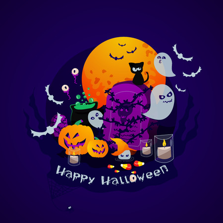 Vector 0Illustration Halloween Elements with Green Poison Pot, Bats, Ghost and Pumpkins in Graveyard Full Moon. Greeting Card Celebrating Happy Halloween with handwritten lettering Happy Halloween. Ilustração