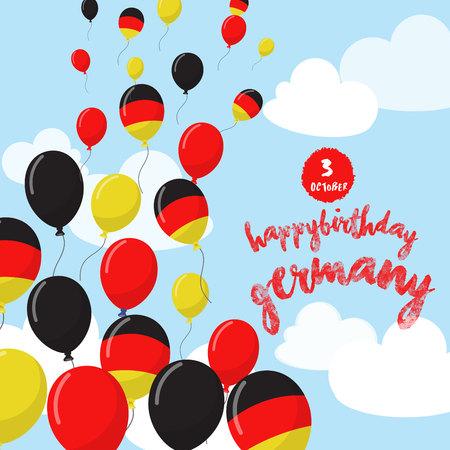 풍선으로 독일 해방의 날을 축하합니다. 생일 축하 해요. 한국. 기념일 풍선 국기 디자인입니다. 스톡 콘텐츠 - 86321308