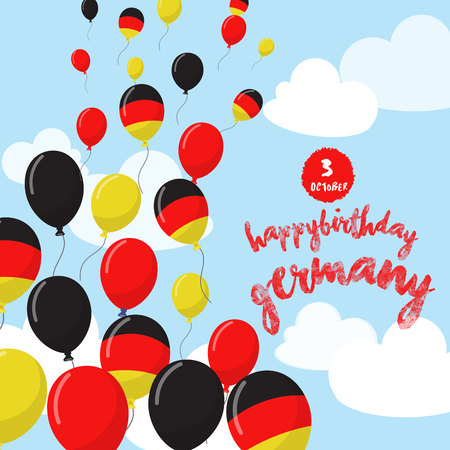 Celebrating The National Liberation Day of Germany with Balloons rise up. Happy Birthday South Korea. Anniversary with Balloon Design of National Flag.