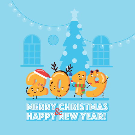 Merry Christmas and Happy New Year Concept with Character 2019 Greeting Card Design