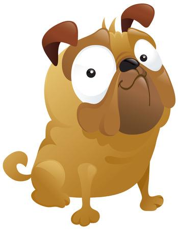 Un plaisir caricature pug chien smirking fièrement